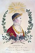 Napoleon I  (1769-1821). Hand-coloured engraving.