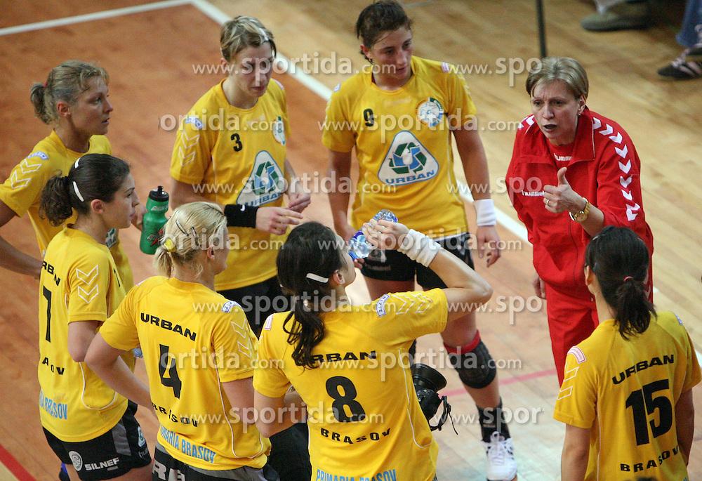 Players of Rulmentul-Urban and coach Mariana Tirca at handball match of 1/4 finals of Women handball Cup Winners cup between RK Krim Mercator, Ljubljana and C.S. Rulmentul-Urban Brasov, Romania, in Arena Kodeljevo, Ljubljana, Slovenia, on 8th of March 2008. Rulmentul-Urban won match against RK Krim Mercator with 29:27.