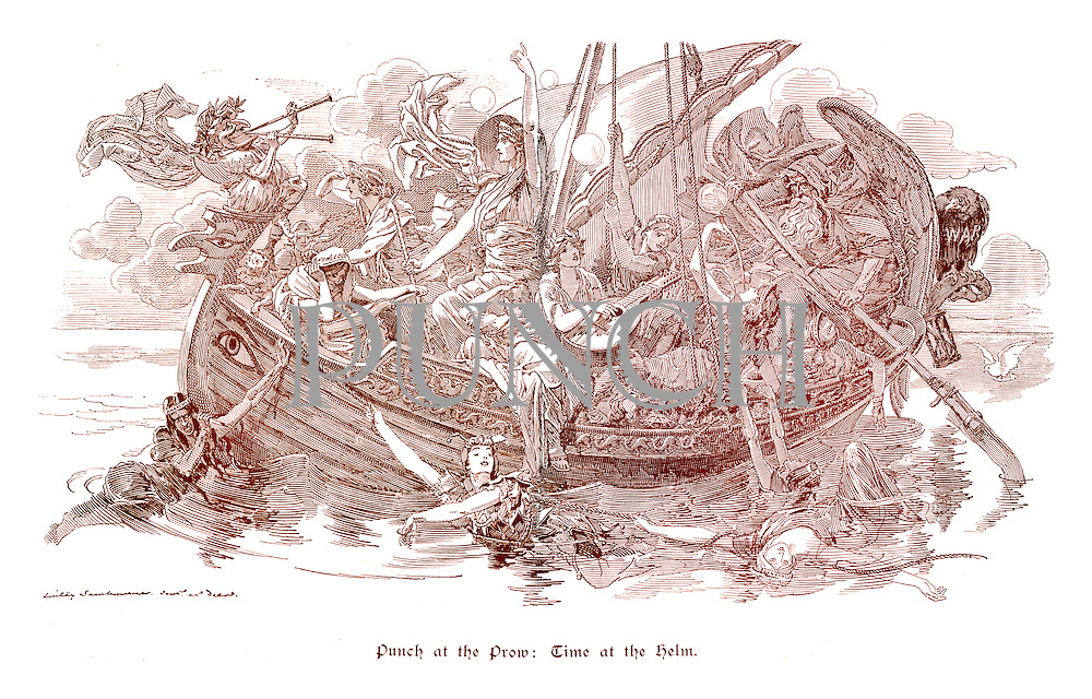 Punch At The Prow: Time At The Helm. (a Victorian cartoon shows the maidens of Knowledge, Science, Progress, Speculation, Wealth, Labour, Poverty, Idleness and Anarchy in and around an ancient Egyptian boat with Britannia as Cleopatra as Mr Punch blows his trumpets, Time steers, the Vulture of War sits behind and a jester hangs onto the rope)