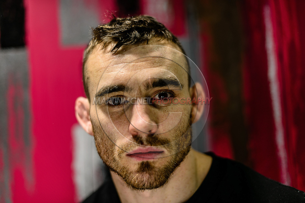 """MANCHESTER, ENGLAND, NOVEMBER 24, 2013: Robert Whiteford poses for a portrait ahead of """"UFC Fight Night 30: Machida vs. Munoz"""" inside the Crowne Plaza Hotel in Manchester, England (Martin McNeil for ESPN)"""