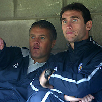 St Johnstone v Leicester City..24.07.04 (Friendly) <br />Micky Adams with new signing Martin Keown who is not playing today.<br />Picture by Graeme Hart.<br />Copyright Perthshire Picture Agency<br />Tel: 01738 623350  Mobile: 07990 594431