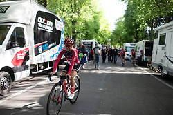 Coryn Rivera (USA) of Team Sunweb rides to the start of the Fleche Wallonne Femme - a 118.5 km road race, starting and finishing in Huy on April 24, 2019, in Liege, Belgium. (Photo by Balint Hamvas/Velofocus.com)