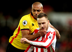 Marko Arnautovic of Stoke City grapples with Younes Kaboul of Watford - Mandatory by-line: Matt McNulty/JMP - 03/01/2017 - FOOTBALL - Bet365 Stadium - Stoke-on-Trent, England - Stoke City v Watford - Premier League