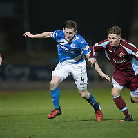 St Johnstone v Stenhousemuir…21.01.17  McDiarmid Park  Scottish Cup<br />Blair Alston is fouled by Ciaran Summers<br />Picture by Graeme Hart.<br />Copyright Perthshire Picture Agency<br />Tel: 01738 623350  Mobile: 07990 594431