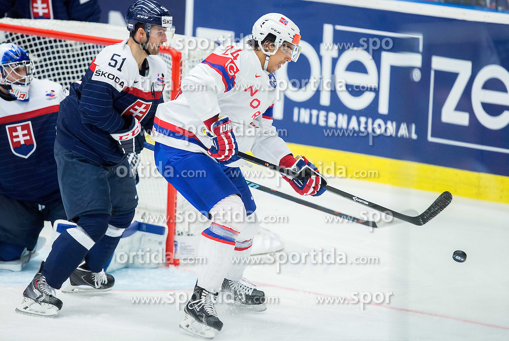 Andreas Martinsen of Norway vs Dominik Granak of Slovakia during Ice Hockey match between Slovakia and Norway at Day 6 in Group B of 2015 IIHF World Championship, on May 6, 2015 in CEZ Arena, Ostrava, Czech Republic. Photo by Vid Ponikvar / Sportida