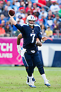 NASHVILLE, TN - OCTOBER 25:  Zach Mettenberger #7 of the Tennessee Titans throws a pass during a game against the Atlanta Falcons at Nissan Stadium on October 25, 2015 in Nashville, Tennessee.  The Falcons defeated the Titans 10-7.  (Photo by Wesley Hitt/Getty Images) *** Local Caption *** Zach Mettenberger