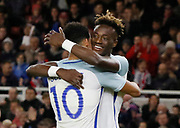 Goal celebration by Dominic Solanke of England during the U21 UEFA EURO first qualifying round match between England and Scotland at the Riverside Stadium, Middlesbrough, England on 6 October 2017. Photo by Paul Thompson.