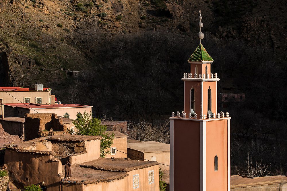 Mosque tower in an Atlas village. Morocco