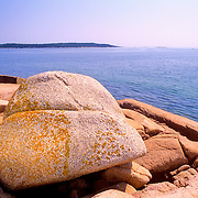 Boulder on the Ship Harbor Trail. Acadia National Park. Mount Desert Island. Maine