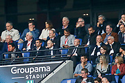Jean Michel Aulas and Gerard Collonb during the French Championship Ligue 1 football match between Olympique Lyonnais and FC Nantes on April 28, 2018 at Groupama Stadium in Décines-Charpieu near Lyon, France - Photo Romain Biard / Isports / ProSportsImages / DPPI