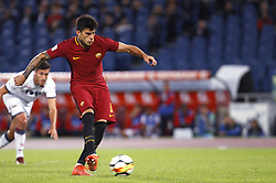October 25, 2017 - Rome, Italy - Roma Diego Perotti kicks the ball to score the winning goal on a penalty kick during the Serie A soccer match between Roma and Crotone at the Olympic stadium. Roma won 1-0. (Credit Image: © Riccardo De Luca/Pacific Press via ZUMA Wire)