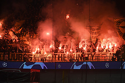 September 18, 2018 - Brugge, BELGIQUE - BRUGGE, BELGIUM - SEPTEMBER 18 : illustration picture of supporters of Borussia Dortmund with fireworks pictured during a  the UEFA Champions League Group A stage match between Club Brugge and Borussia Dortmund at the Jan Breydel stadium on September 18, 2018 in Brugge, Belgium , 18/09/2018 (Credit Image: © Panoramic via ZUMA Press)