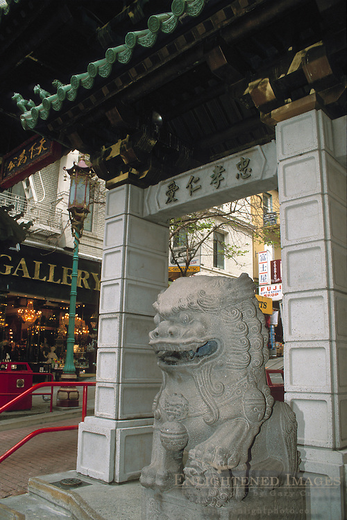 Stone dragon gaurding the entrance gate to Chinatown, San Francisco, California