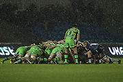 Scrum down in the rain during the Aviva Premiership match between Sale Sharks and Northampton Saints at the AJ Bell Stadium, Eccles, United Kingdom on 25 November 2017. Photo by George Franks.
