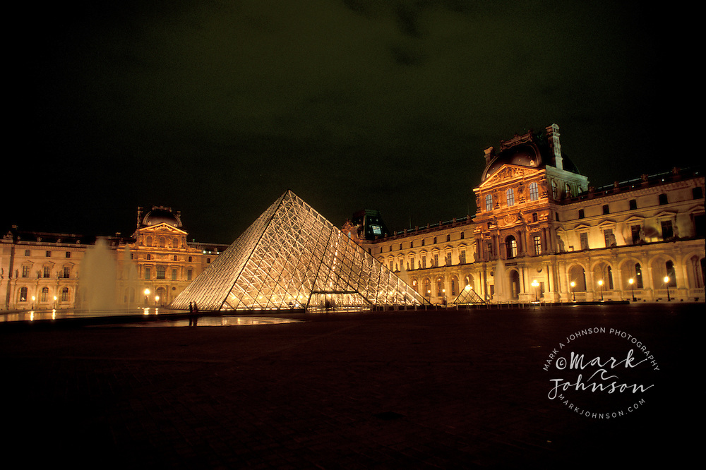 France, Paris, Louvre at night