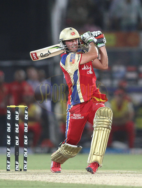 AB de Villiers of the Royal Challengers Bangalore attacks a delivery during match 30 of the the Indian Premier League (IPL) 2012  between The Rajasthan Royals and the Royal Challengers Bangalore held at the Sawai Mansingh Stadium in Jaipur on the 23rd April 2012..Photo by Shaun Roy/IPL/SPORTZPICS