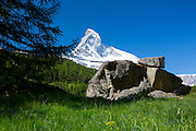 Glacial rock by the Matterhorn mountain in the Swiss Alps near Zermatt, Switzerland