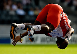 Guillermo Martinez of Cuba celebrates after he placed second in the men's Javelin Throw Final during day nine of the 12th IAAF World Athletics Championships at the Olympic Stadium on August 23, 2009 in Berlin, Germany. (Photo by Vid Ponikvar / Sportida)