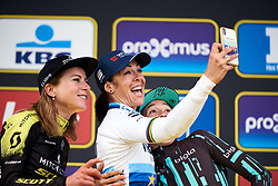 Posing for a podium selfie at Ronde van Vlaanderen - Elite Women 2019, a 159.2 km road race starting and finishing in Oudenaarde, Belgium on April 7, 2019. Photo by Sean Robinson/velofocus.com
