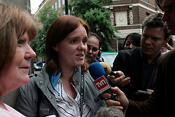 UK ENGLAND LONDON 8JUL05 - Sarah Randall, sister of bombing victim Chris Randall who was on the bombed train at Edgware Road station is being interviewed in front of the Accident and Emergency department of St. Mary's hospital in Paddington, central London. At least 37 people have been killed and hundreds injured after four blasts on the Underground network and a double-decker bus in London...jre/Photo by Jiri Rezac ..© Jiri Rezac 2005..Contact: +44 (0) 7050 110 417.Mobile:  +44 (0) 7801 337 683.Office:  +44 (0) 20 8968 9635..Email:   jiri@jirirezac.com.Web:    www.jirirezac.com..© All images Jiri Rezac 2005 - All rights reserved.