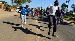 HAMMANSKRAAL, May 24, 2016 (Xinhua) -- Protestors gather outside of the municipal offices of Themba in Hammanskraal, north of Pretoria, South Africa, on May 24, 2016. At least two people have been killed and six others injured during a violent protest in Hammanskraal, north of Pretoria, police said on Monday. The protest erupted on Monday when authorities tried to remove shacks that had been illegally built on a piece of land near a shopping mall, Pretoria Metro Police said. (Xinhua/Zhai Jianlan) (djj) (Credit Image: © Zhai Jianlan/Xinhua via ZUMA Wire)