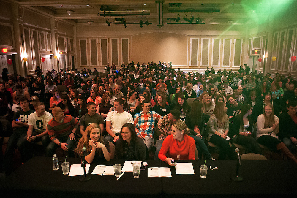 Students pack Baker Center Ballroom as they wait for the beginning of the first annual Mr. University Pageant. The pageant, which was organized by Alpha Delta Pi was held as a fundraiser for the Ronald McDonald House Charities of central Ohio and featured 19 male students who competed in swimsuit, OU trivia and formal wear contests. Tickets were $3 at the pre sale and $5 at the door and an estimated 700-800 people attended. Photo by: Ross Brinkerhoff.