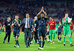 BELGRADE, SERBIA - Sunday, June 11, 2017: Wales' captain Ashley Williams applauds the travelling supporters after the 1-1 draw with Serbia during the 2018 FIFA World Cup Qualifying Group D match between Wales and Serbia at the Red Star Stadium. (Pic by David Rawcliffe/Propaganda)
