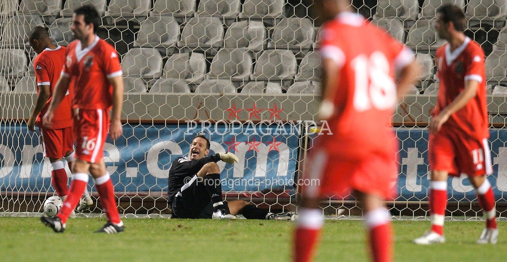 Nicosia, Cyprus - Saturday, October 13, 2007: Wales' goalkeeper Danny Coyne looks dejected after the 3-1 defeat at the hands of Cyprus during the Group D UEFA Euro 2008 Qualifying match at the New GSP Stadium in Nicosia. (Photo by David Rawcliffe/Propaganda)