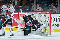 KELOWNA, CANADA - OCTOBER 20: James Porter #1 of the Kelowna Rockets makes a first period save against the Portland Winterhawks on October 20, 2017 at Prospera Place in Kelowna, British Columbia, Canada.  (Photo by Marissa Baecker/Shoot the Breeze)  *** Local Caption ***