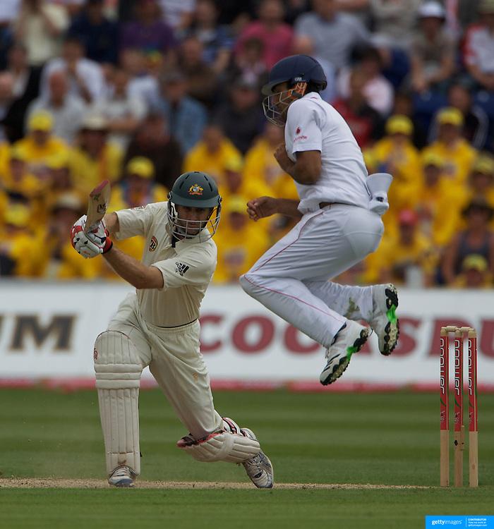 Simon Katich batting as Ravi Bopara takes evasive action during the England V Australia  Ashes Test series at Cardiff, Wales, on Thursday, July 09, 2009. Photo Tim Clayton.