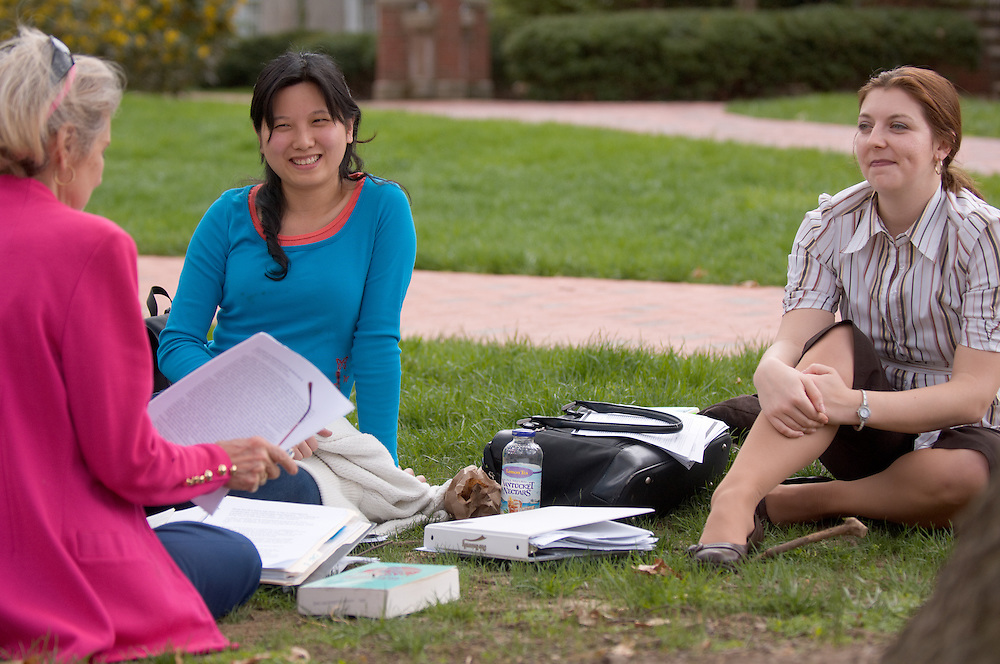 Spring Campus...Polly Pang(blue), Erin Spring, and Louise Steele(pink)