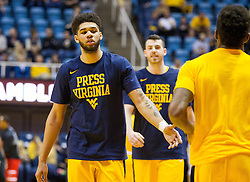 Feb 18, 2017; Morgantown, WV, USA; West Virginia Mountaineers forward Esa Ahmad (23) warms up before their game against the Texas Tech Red Raiders at WVU Coliseum. Mandatory Credit: Ben Queen-USA TODAY Sports