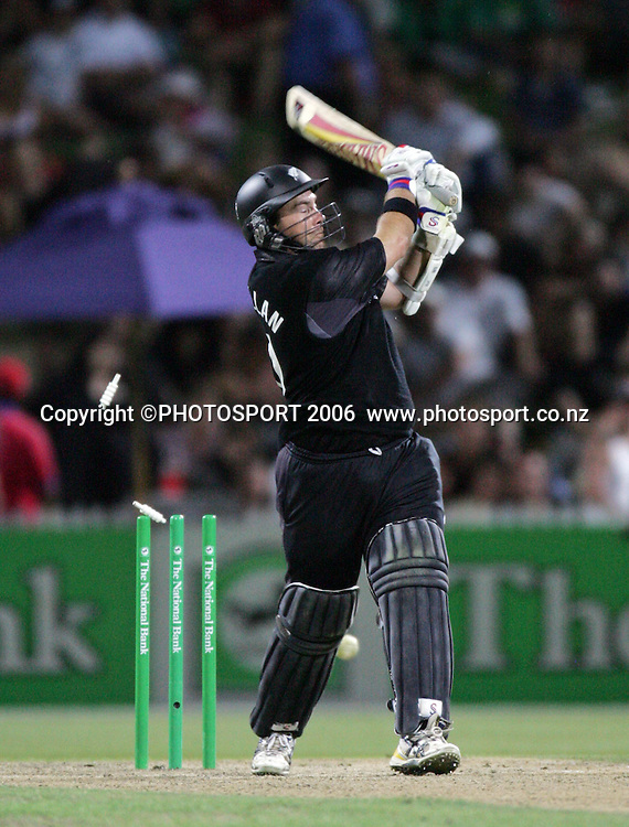 NZ batsman Craig McMillan is bowled by Shane Watson for 117 off 96 balls during the 3rd Chappell Hadlee one day match at Seddon Park, Hamilton, New Zealand on Tuesday 20 February 2007. Photo: Andrew Cornaga/PHOTOSPORT<br />
