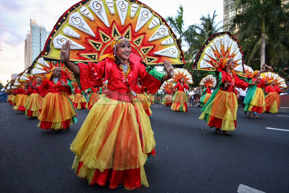 April 28, 2018 - Philippines - Participants from different parts of the country danced their way along Roxas Boulevard in Manila as they take part in Aliwan (amusement) Festival 2018. (Credit Image: © J Gerard Seguia via ZUMA Wire)