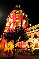 Pasadena City Hall Illuminated with Red and Orange Lights During Art Night, Pasadena, California