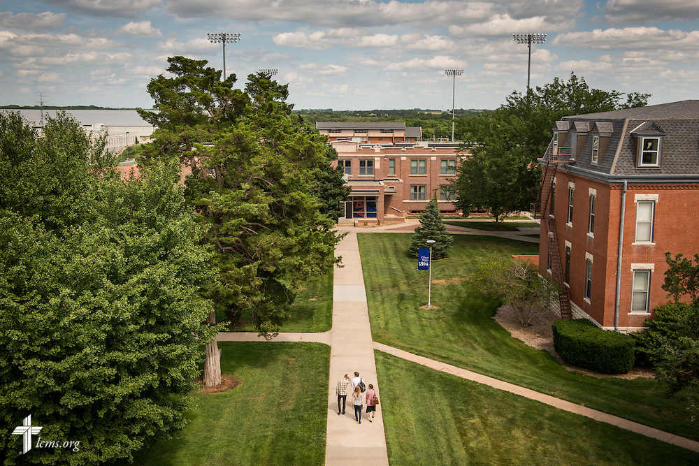 Students walk through campus on Tuesday, July 29, 2014, at Concordia University, Nebraska, in Seward, Neb. LCMS Communications/Erik M. Lunsford