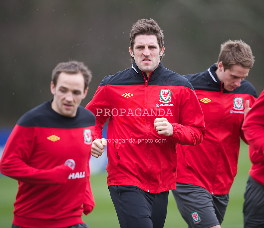 CARDIFF, WALES - Monday, February 27, 2012: Wales' Sam Ricketts training at the Vale of Glamorgan ahead of the friendly match against Costa Rica. (Pic by David Rawcliffe/Propaganda)