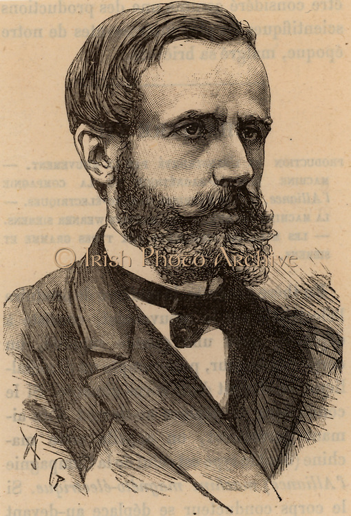 (Raymond) Gaston Plante (1834-1889) French physicist who in 1859 invented the first accumulator or electric storage battery.  It was a wet cell with two lead plates immersed in sulphuric acid, the electrolyte. Engraving from 'Les Merveilles de la Science' by Louis Figuier (Paris, c1870). Engraving.