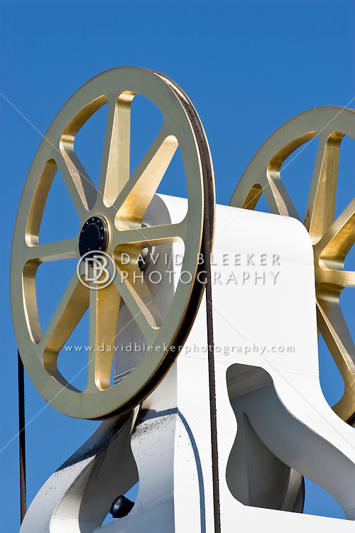 Close-up of the 18 carat gold-plated pulleys used to lift the bridge over the river IJssel at the city of Kampen.