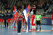 Teams presentation during anthems before the EHF 2018 Men's European Championship, 2nd Round, Handball match between Serbia and Norway on January 18, 2018 at the Arena in Zagreb, Croatia - Photo Laurent Lairys / ProSportsImages / DPPI