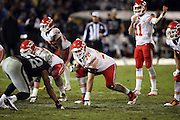 Kansas City Chiefs tackle Eric Fisher (72) gets set in a three point stance during the NFL week 12 regular season football game against the Oakland Raiders on Thursday, Nov. 20, 2014 in Oakland, Calif. The Raiders won their first game of the season 24-20. ©Paul Anthony Spinelli