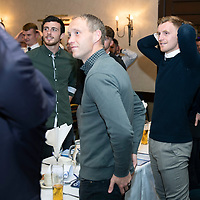 Chris Millar Testimonial Boxing Night at The Salutation Hotel, Perth..15.09.18<br />Chris Millar's former team mates Joe Shaughnessy, Steven Anderson and Liam Craig during the game of Heads and Tails<br />Picture by Graeme Hart.<br />Copyright Perthshire Picture Agency<br />Tel: 01738 623350  Mobile: 07990 594431