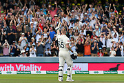 100 - Ben Stokes of England salutes the crowd as he celebrates scoring a century during the International Test Match 2019 match between England and Australia at Lord's Cricket Ground, St John's Wood, United Kingdom on 18 August 2019.