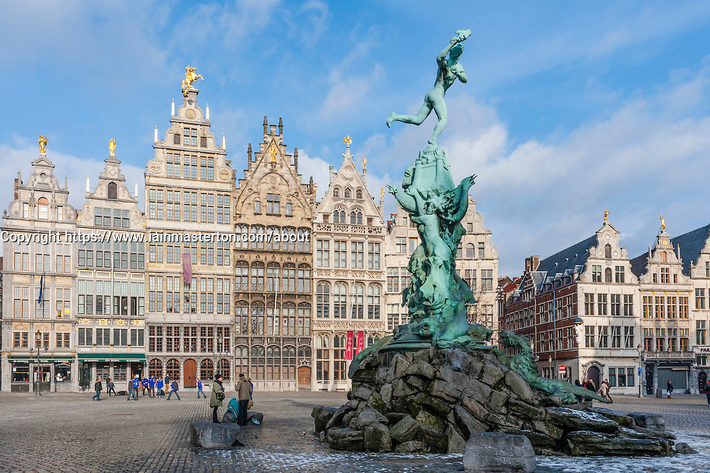 Antwerp; Brabo Fountain and historic buildings in Grote Markt square in Antwerp Belgium