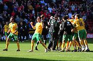 London - Saturday, April 17th 2010: Norwich players celebrate promotion after the Coca Cola League One match at The Valley, Charlton...(Pic by Alex Broadway/Focus Images)