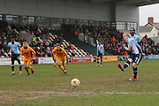 Blackpool FC Mark Cullen (9) scores from the spot 0-2 second half during the EFL Sky Bet League 2 match between Newport County and Blackpool at Rodney Parade, Newport, Wales on 18 March 2017. Photo by Gary Learmonth.