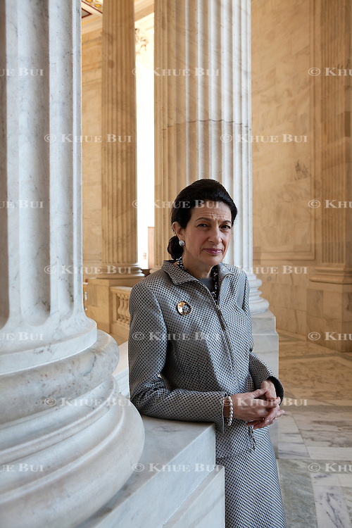 Senator Olympia Snowe (R-Maine) in the Russell rotunda of Capitol Hill February 12, 2009...Photo by Khue Bui