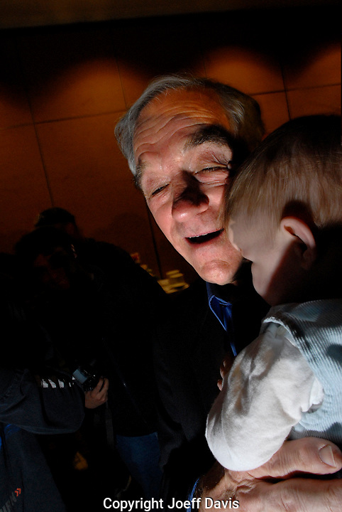 "Texas Representative Ron Paul at the ""Ron Paul For President Rally"" on the evening of the 2008 South Carolina Republican Presidential primary. Paul finished in fifth place with 3.7% of the vote."