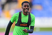 Forest Green Rovers Reece Brown(10) warming up during the EFL Sky Bet League 2 play off first leg match between Tranmere Rovers and Forest Green Rovers at Prenton Park, Birkenhead, England on 10 May 2019.