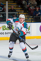 KELOWNA, CANADA - JANUARY 7: Lucas Johansen #7 of the Kelowna Rockets passes the puck against the Kamloops Blazers on January 7, 2017 at Prospera Place in Kelowna, British Columbia, Canada.  (Photo by Marissa Baecker/Shoot the Breeze)  *** Local Caption ***